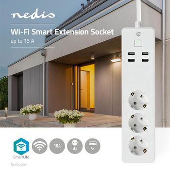 SmartLife Power Strip | Wi-Fi | 3 x Schuko (CEE 7/3) / 4 x USB | 16 A | 3680 W | Power cable length: 1.8 m | -10 - 40 °C | Android™ & iOS | White