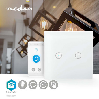 SmartLife Wall Switch | Wi-Fi | Dual | Wall Mount | 86 mm | 86 mm | 1000 W | Android™ & iOS | Glass | White