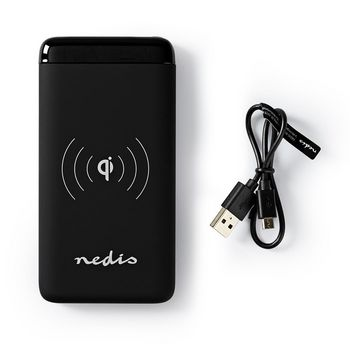 Powerbank with Wireless Charger | 5000 mAh | 2 x 2.1 A | 2 x USB outputs | Black