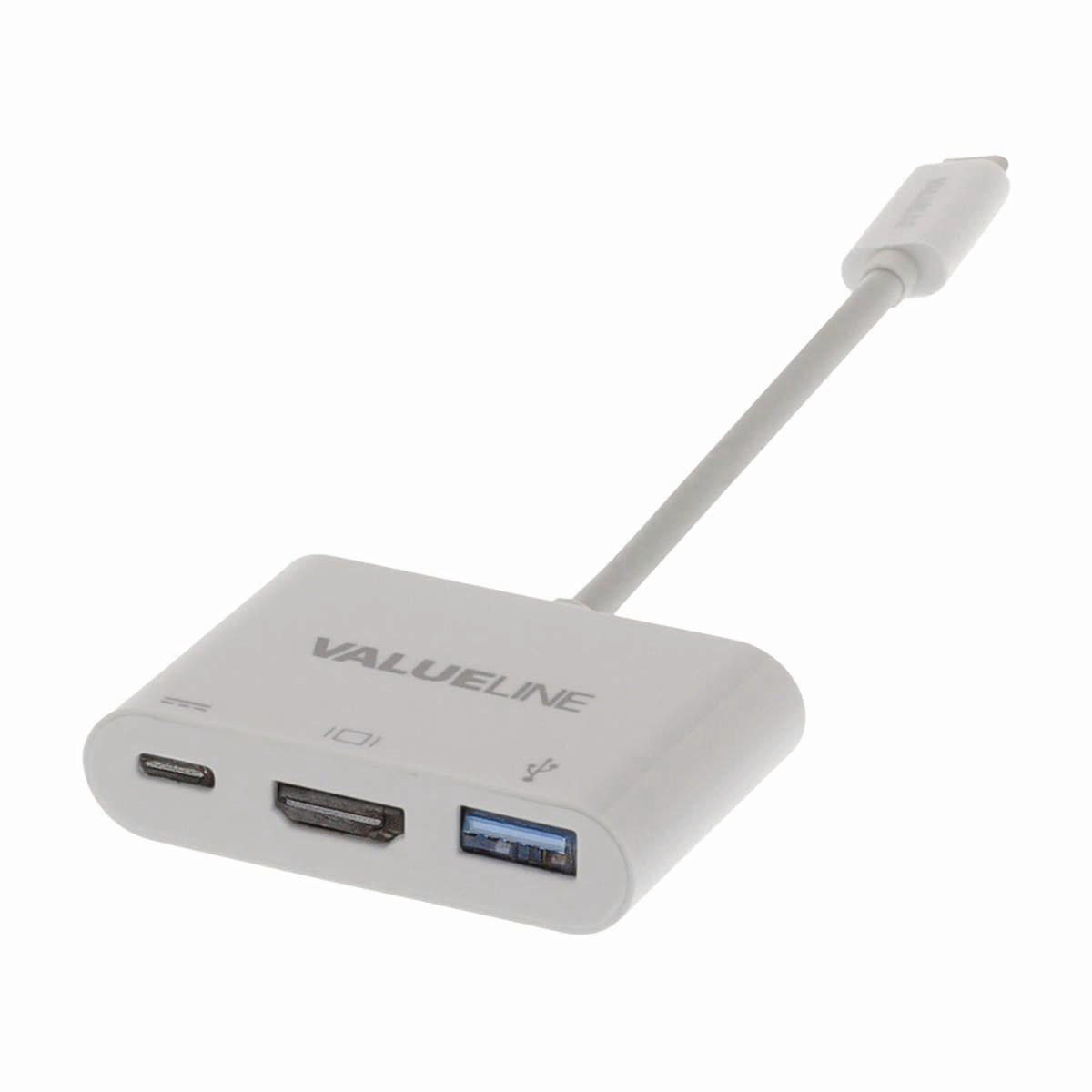 USB-C Type-C Adapter Type-C Male to USB A Female, Type-C Female, HDMI Out White