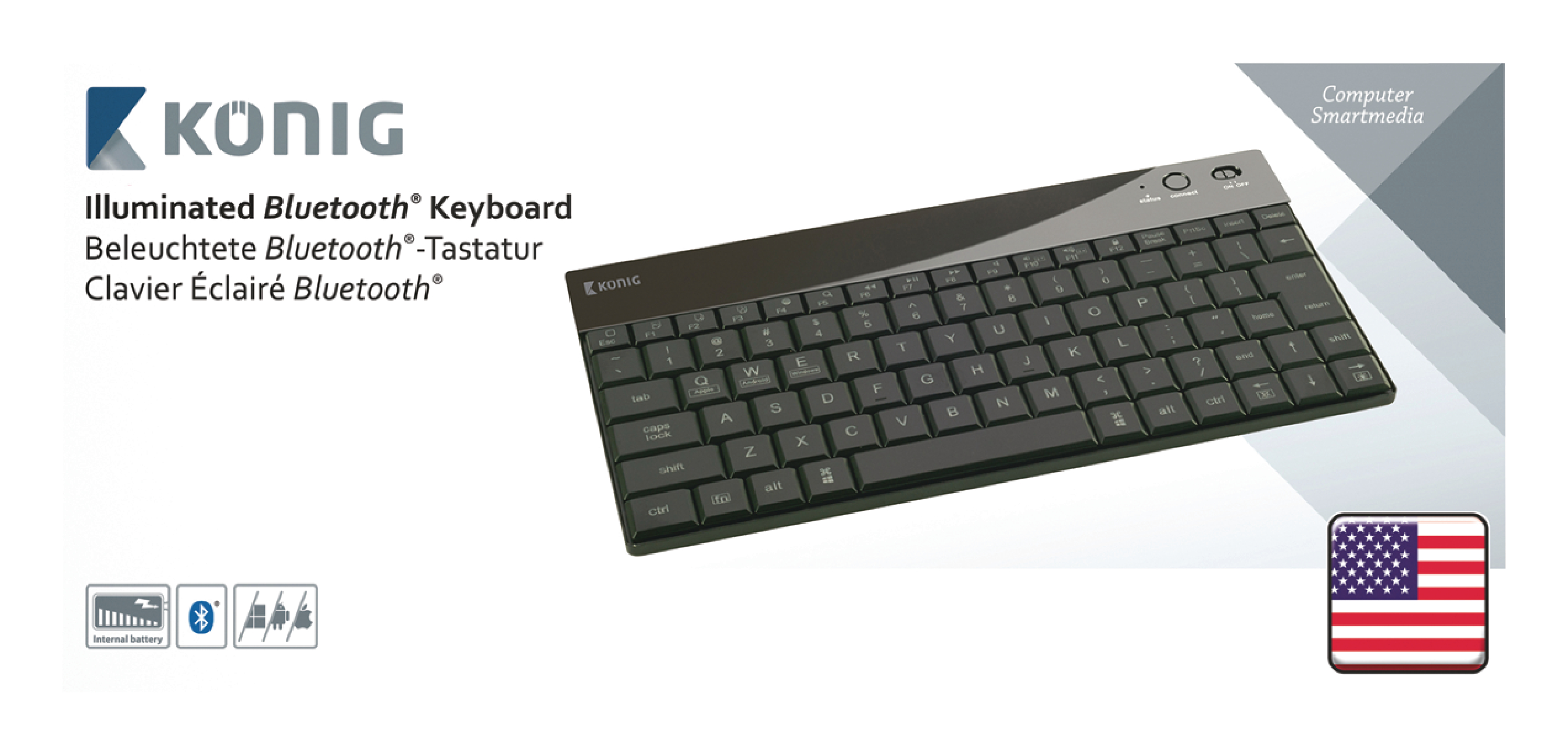 Bluetooth Tastatur Opplyst Bærbar US International Sort   Nedis