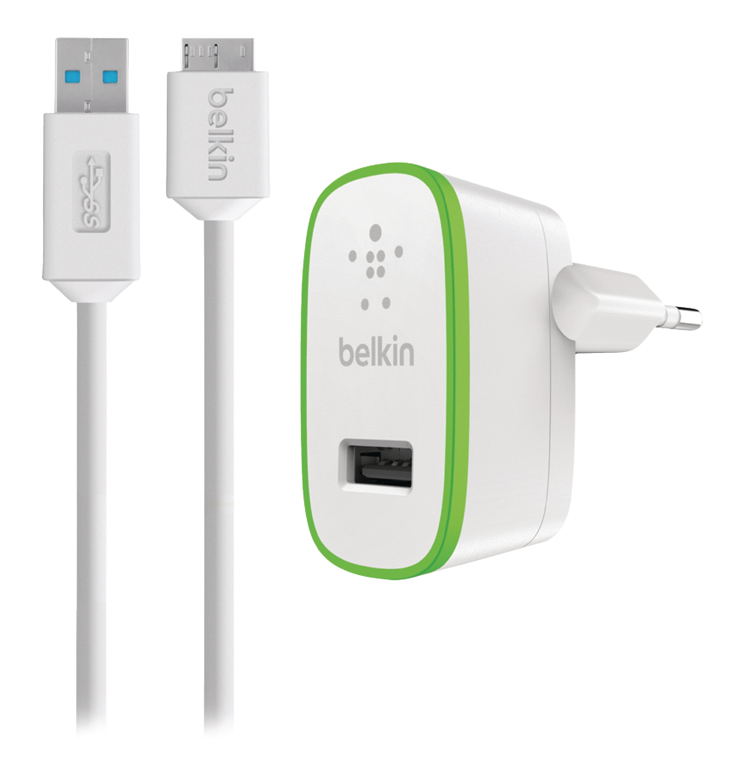 Wall Charger 1 Output 2.1 A 2.1 A USB WhiteGreen | Nedis