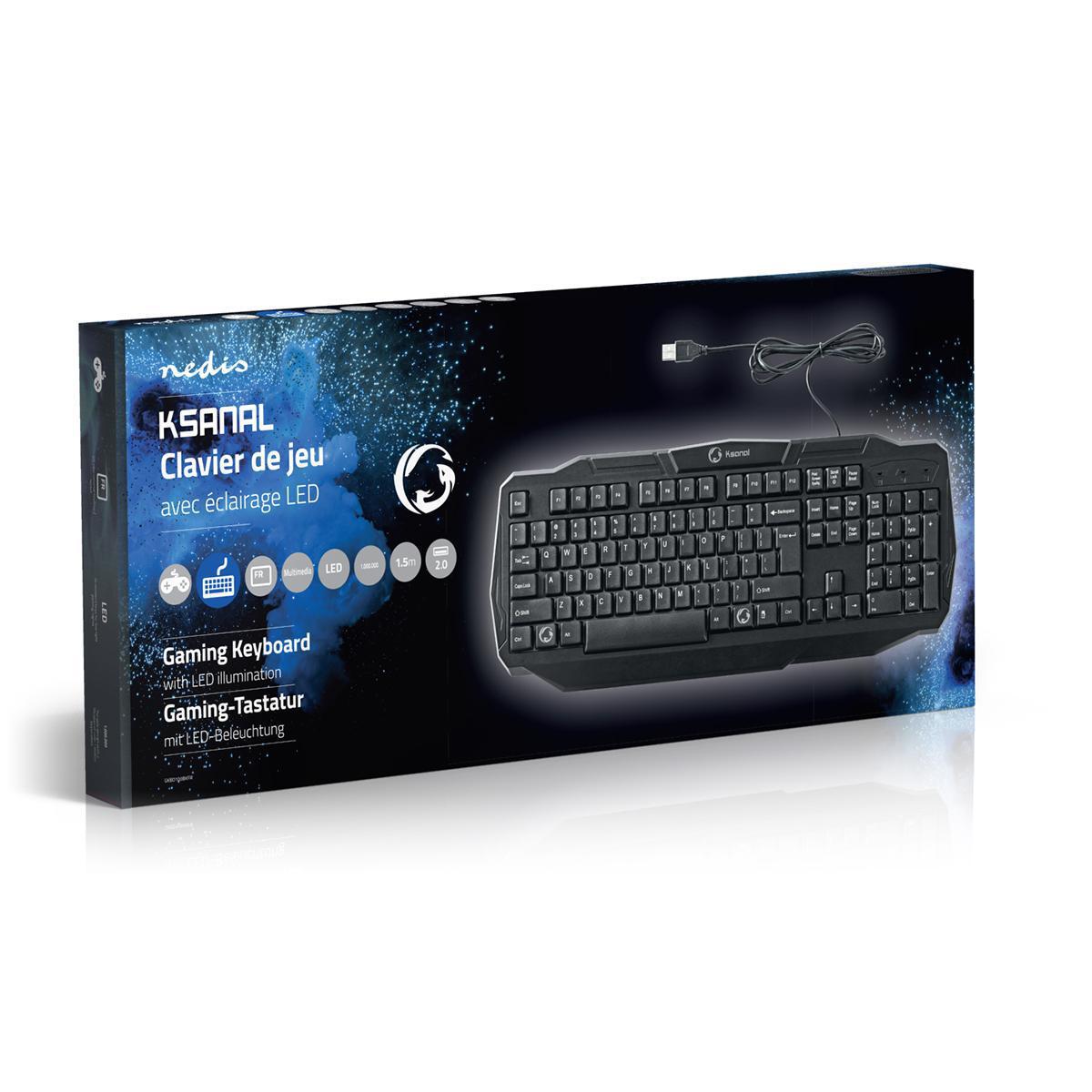Kablet Spilltastatur   USB 2.0   Fransk oppsett   Sort   Nedis
