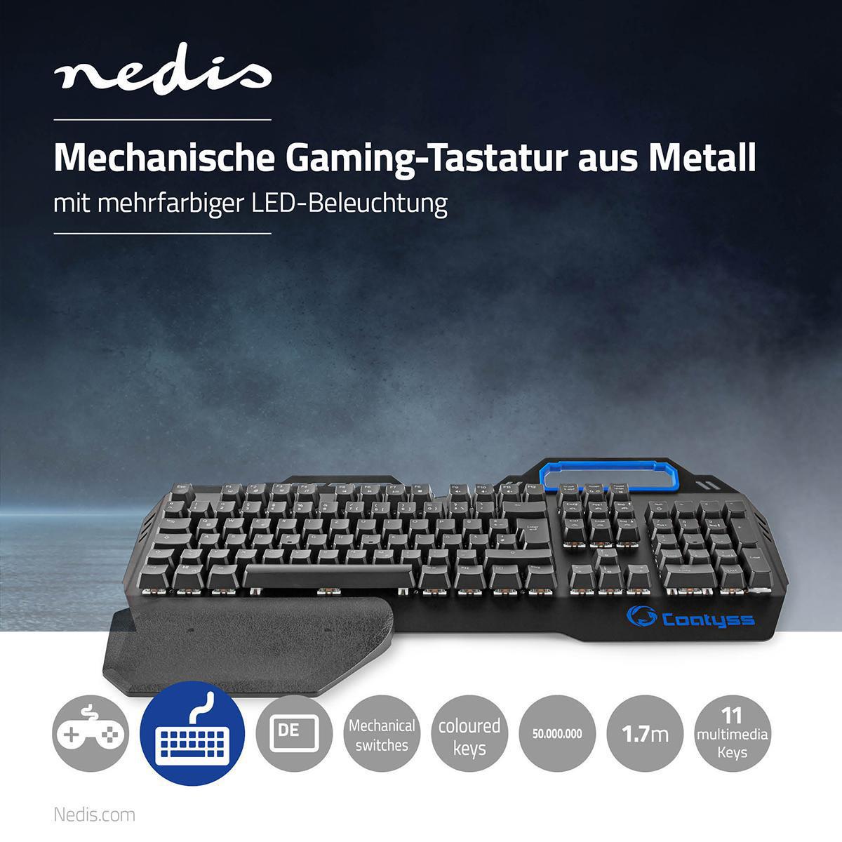 Nedis Mekanisk Gaming tastatur LED Illuminated Sort