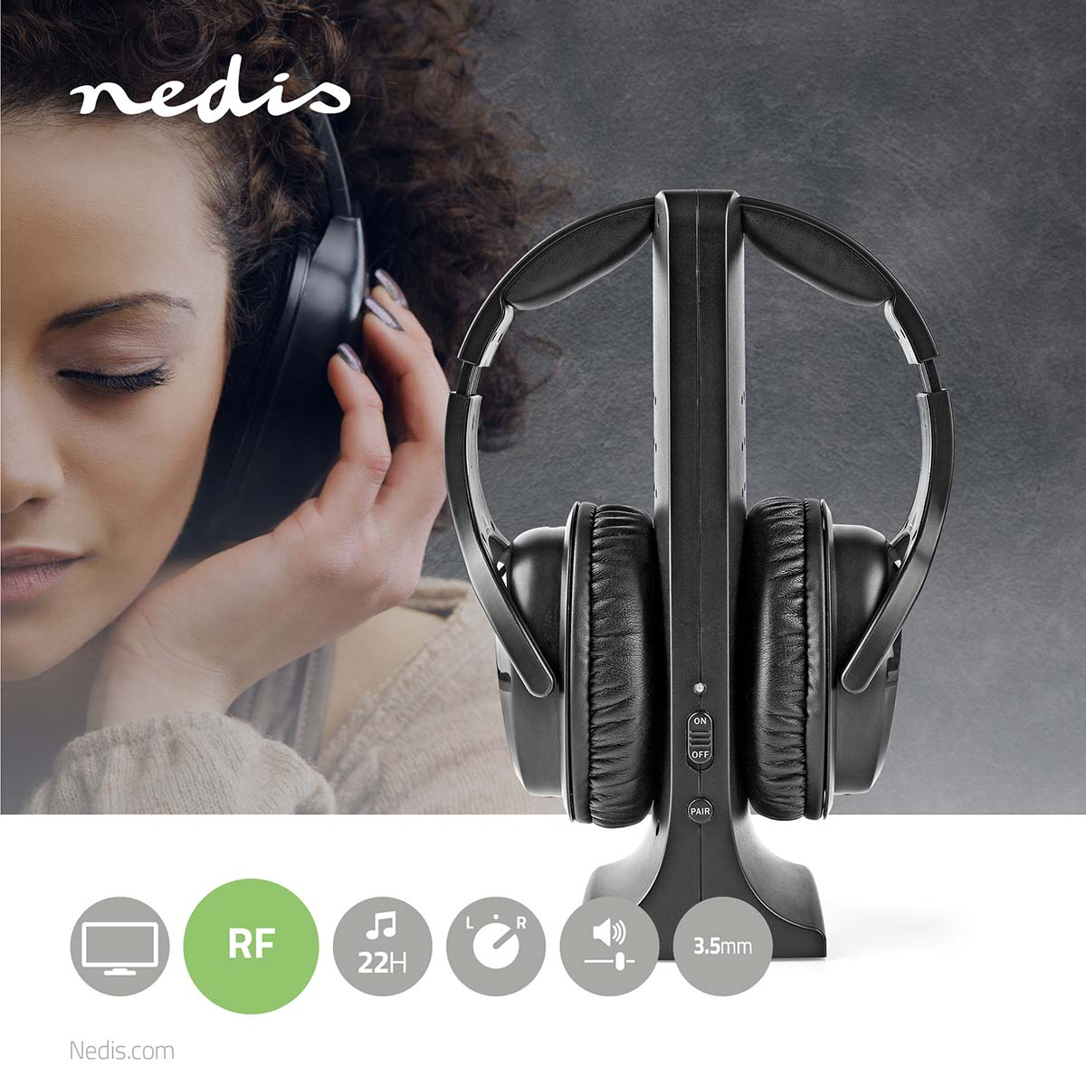 Wireless Tv Headphones Rf Over Ear Battery Play Time Up To 22 Hours