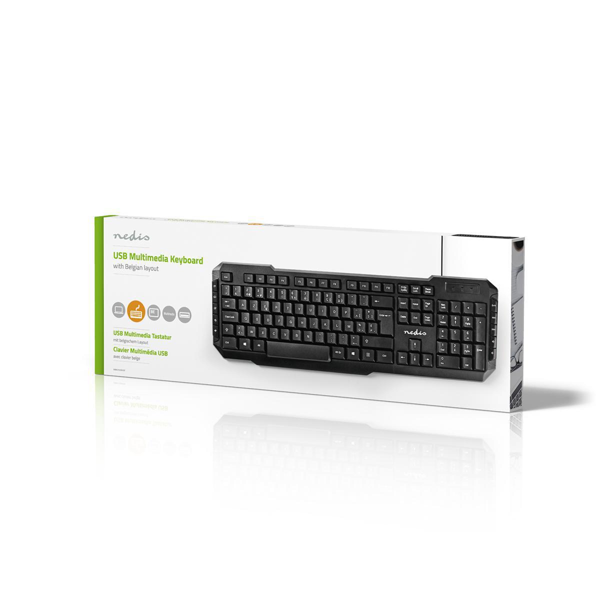 Kablet Tastatur   USB 2.0   Belgisk oppsett   Nedis