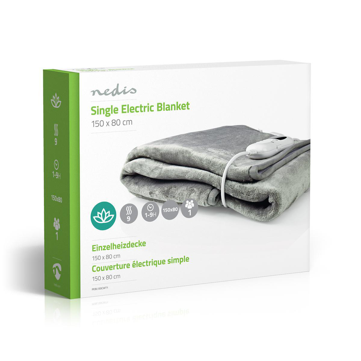 Electric Blanket Under Heated Single Washable Comfort Control 3 Heat Settings