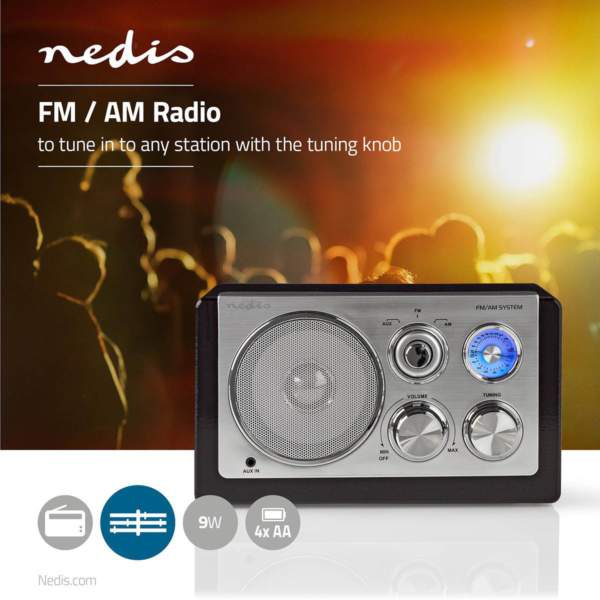 Design r/étro 9 W Nedis RDFM5100WT Radio FM R/églage Analogique Blanc