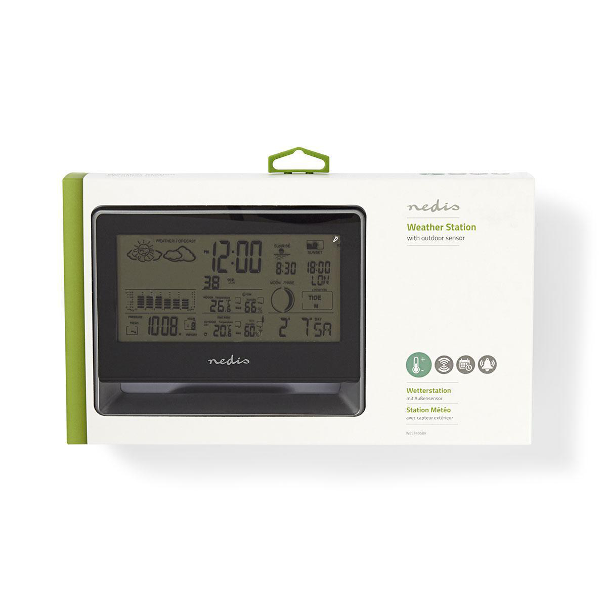 Nedis Weather Station Wireless sensor Alarm clock Weather Forecast